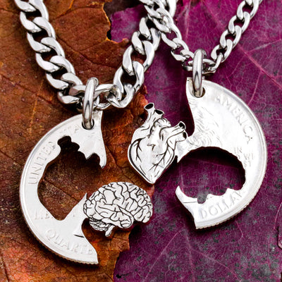 Anatomical Heart and Cerebral Couples Necklaces