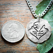 Buck and doe distressed silver pendant, The hunt