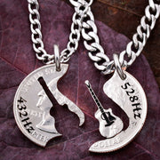 Acoustic Guitar Necklaces, BFF Frequency or Names Engraved coin