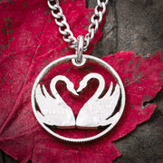 Swans In Heart Necklace