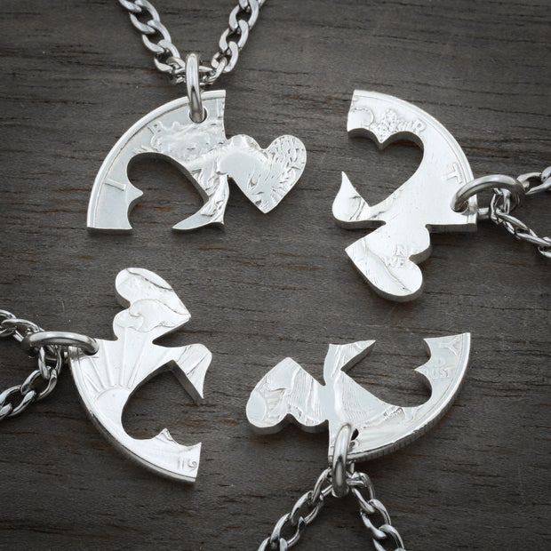 Our Hearts Together, 4 Piece Heart Necklace