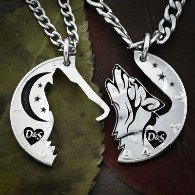 Wolf and Moon Necklace, with Initials in a Heart