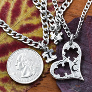 3 Heart Necklaces, 3 Best Friends with Initials, Puzzle Pieces Cut From A Heart, Three BFF Gifts, Personalized Cut Coin