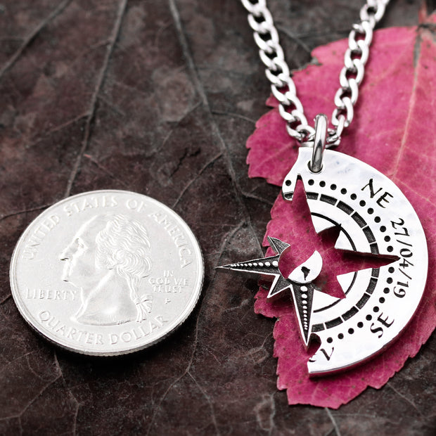 Compass Necklaces, Engraved Dates, Hand Cut Coin