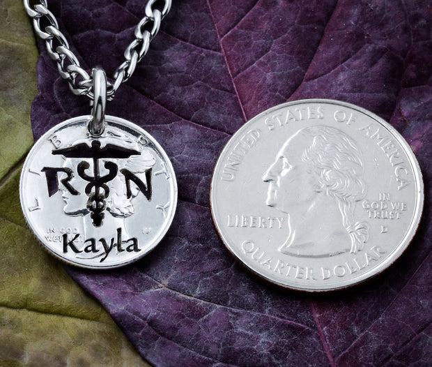 Nurse Necklace, RN Jewelry, engraved name, Handcrafted cut coin