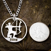 Archer Necklace, custom date, Hand Cut Half Dollar