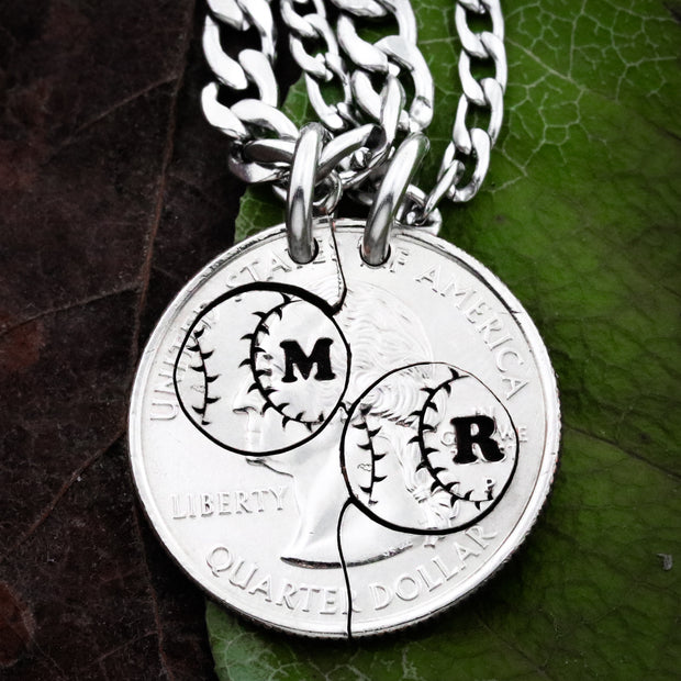 Baseball Necklaces, With Custom Initials, Hand Cut Coin