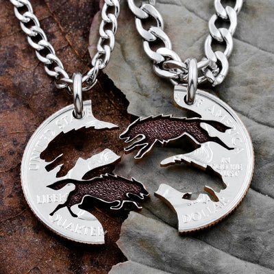 Wolf Necklace, Running Wolves Jewelry, Hand Cut Quarter