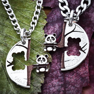 Panda Relationship Necklaces, Cut Coin