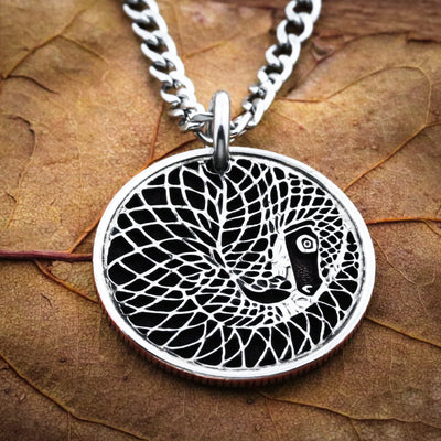 Pangolin Necklace, Hand cut coin