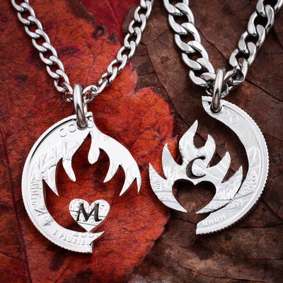 Fire and Heart, Custom Initials, Hand Cut Coin