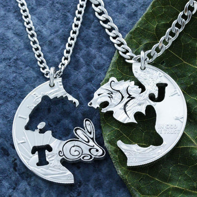 Bear and Bunny Engraved Necklace Set, Personalized Initials, BFF and Couples Necklaces