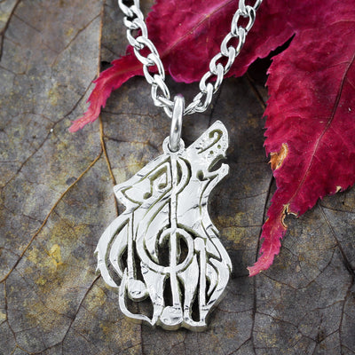 Wolf Music Note Necklace
