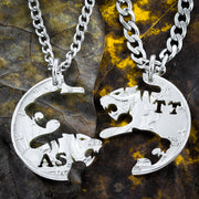 Tiger Necklaces, Custom Initials, hand cut coin