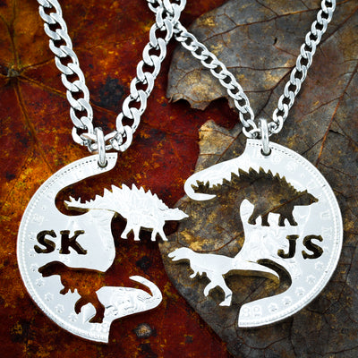 Dinosaurs with Initials, Raptor and Stegosaurus, Hand Cut Coin