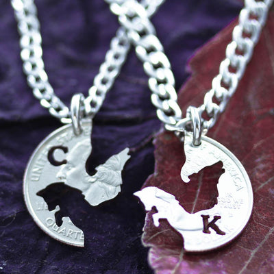 Fox and Wolf Couples Necklaces, Custom Initials BFF Gifts, Hand Cut Coin
