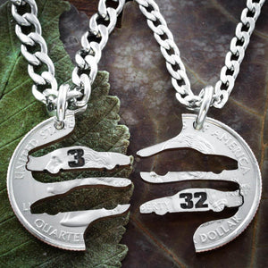 Race Car Best Friends Necklaces, With Personalized Racing Number, Nascar Racing Jewelry, BFF Gifts, interlocking hand cut coin