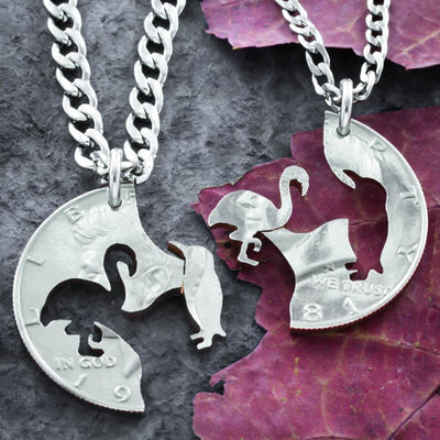 Penguin and Flamingo Necklaces, Best Friends, Interlocking Gifts, Hand cut coin Jewelry
