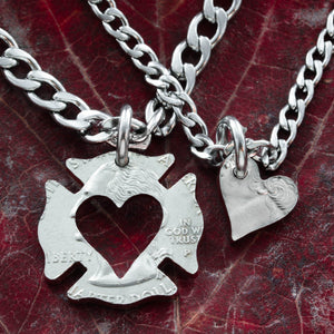 Firefighter Couples Necklace, heart necklace, inside out