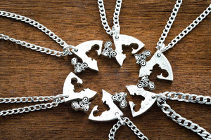 Dirtbike Best Friend Necklaces, 6 piece, Hand cut and Engraved coin, Motocross Best Friends Gifts, Interlocking Friends\Family Necklaces
