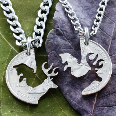 Buck and Fox Necklace, Couples Necklaces, hand cut coin