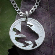 Softball catcher Jewelry, womens hand cut coin necklace