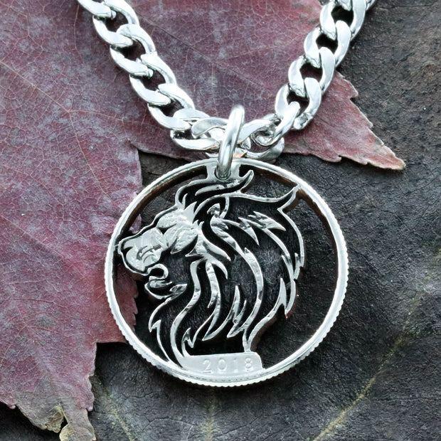 Lion Necklace, Roaring Lion, Big cat jewelry, Charm necklace