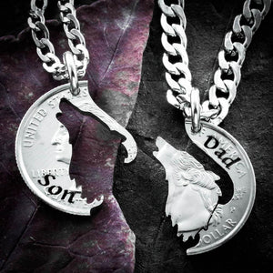 Howling Wolf necklaces for 2, Father and Son, matching Son and Dad pendants, family jewelry, hand cut coin