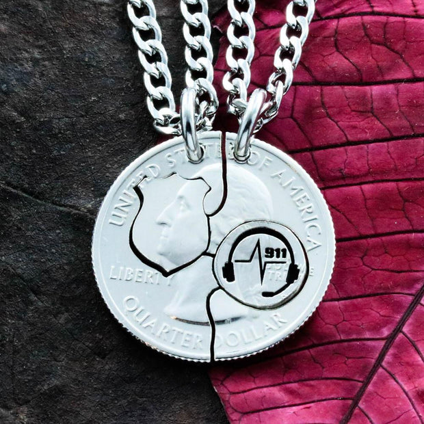 911 Dispatcher and Police Badge Necklaces, BFF Couples Handmade Coin
