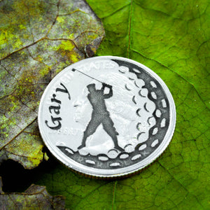 Men's golfer marker with Custom name engraved