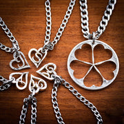 6 Best Friends Necklaces, Hand Cut Initials, Flower Heart Puzzle Coin