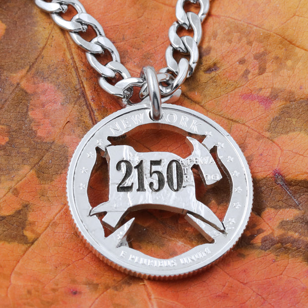 FireFighter Necklace, custom engraved number, Hand Cut Coin