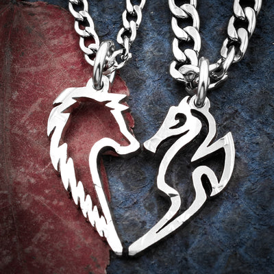 Wolf and Seahorse Necklaces,  Interlocking hand cut coin