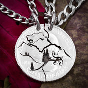 Bear and Horse Necklaces, Mountain Couples Coin Jewelry