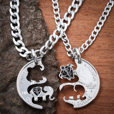 Turtle and Elephant with Engraved Hearts, Hand cut coin