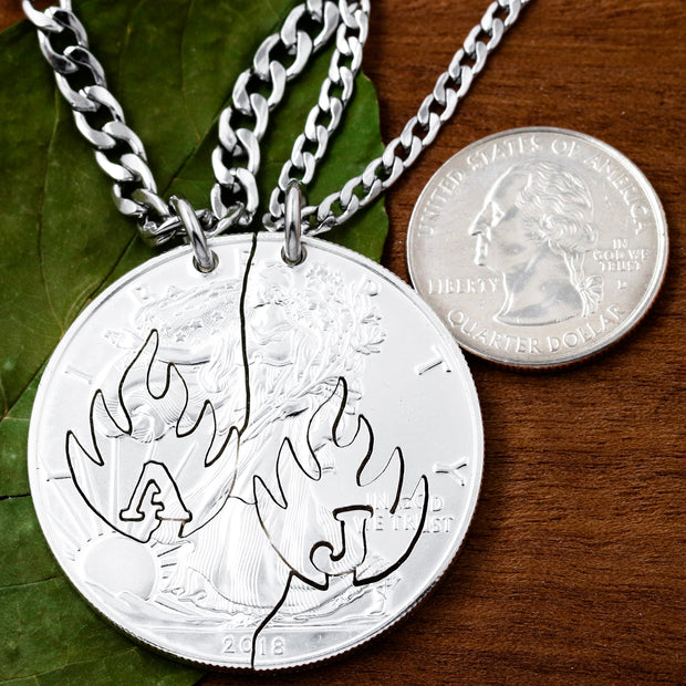 Initial Necklaces, Fire Jewelry, Hand Cut Coin