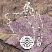 Silver Dime Compass Necklace, Custom Real Silver Chain Length