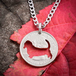 Basset hound, dog necklace or keychain, hand cut coin