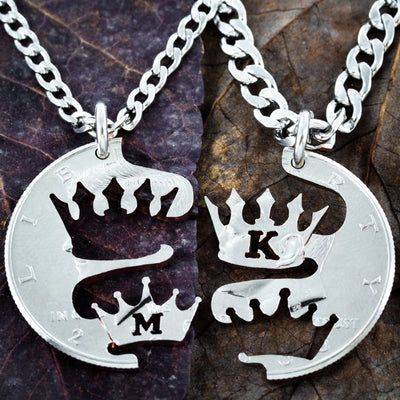 Crown Necklaces, With Custom Initials, Hand Cut Coin
