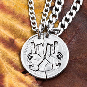 Sloth Friends Necklace, Hanging Sloths in a Tree, Hand Cut Coin
