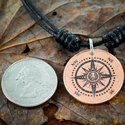 Copper coin Compass necklace with a Kraken Engraved