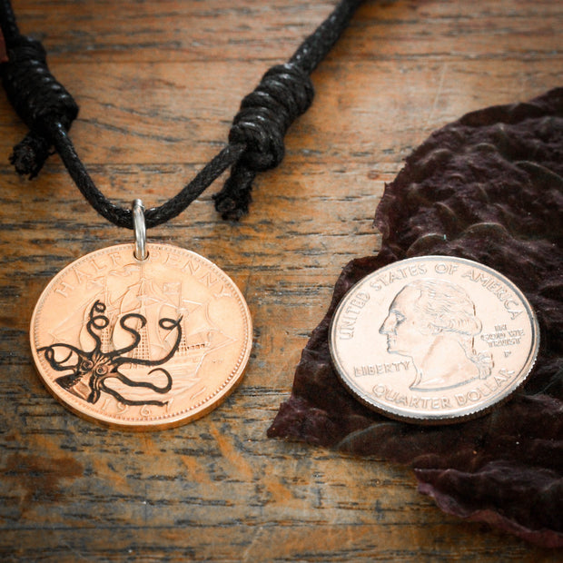 Kraken and Ship Coin Necklace, Octopus Pirate Jewelry