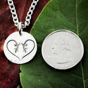 Lizard Heart Silver Necklace, Dainty Gecko Dime Jewelry