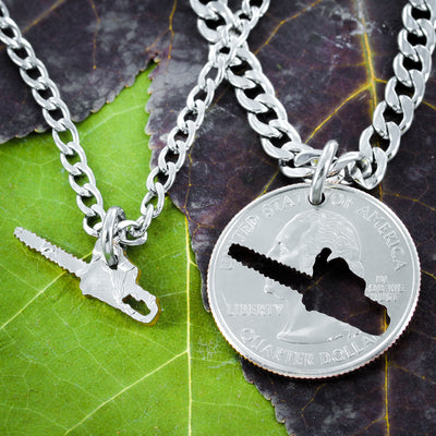 Lumberjack Chainsaw Family Gift, Logger BFF Jewelry, Cut Coin Necklace