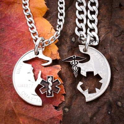 EMT Nurse Healthcare Professionals Couple BFF coin jewelry