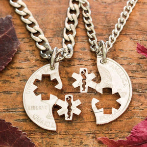 Medical and EMT couples necklaces hand cut coin