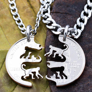 Monkeys Necklace Set, Chimp Friendship Jewelry, Handmade Coin