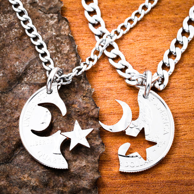 Moon Star Couples necklaces, Astronomy BFF Coin gift