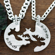 Moose Couples Necklaces, Anniversary Date Jewelry, Hand cut coin