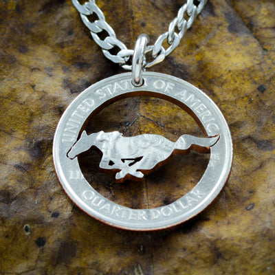 Mustang Running Horse necklace, Cowgirl Cowboy Western coin gift